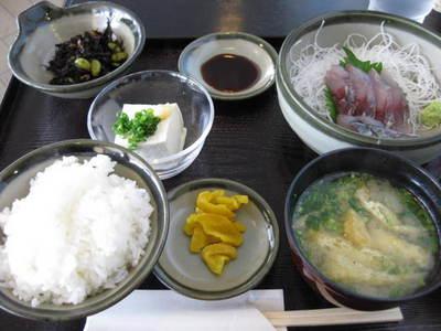 道の駅阿久根 アジ刺定食 20110629
