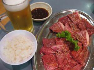 焼肉の白川‐ビール、ごはん