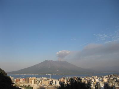 夕方の桜島の様子(城山から)20110923.JPG